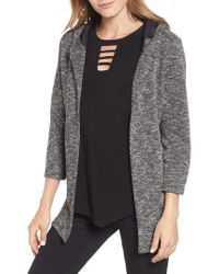 Chaus - Gray Slub Knit Hooded Open Cardigan - Lyst