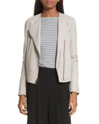 Vince - Gray Cross Front Leather Jacket - Lyst