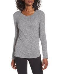 Zella Gray Liana Long Sleeve Recycled Blend Performance T-shirt