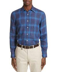 Canali - Blue Slim Fit Plaid Linen Sport Shirt for Men - Lyst