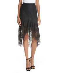 Alice + Olivia - Black Triss High/low Lace Skirt - Lyst