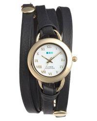 La Mer Collections - Black 'saturn' Leather Wrap Bracelet Watch - Lyst