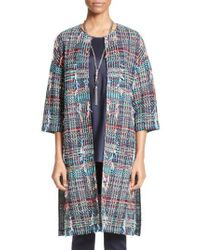 St. John | Blue Dara Fringe Knit Topper | Lyst