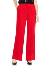 Vince Camuto | Red Wide Leg Crepe Pants | Lyst