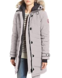 Canada Goose | Gray 'lorette' Hooded Down Parka With Genuine Coyote Fur Trim | Lyst