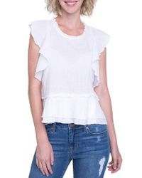 Liverpool Jeans Company - White Ruffle Cotton Blend Top - Lyst