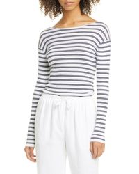 Vince White Stripe Ribbed Boatneck Cotton Sweater