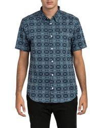 RVCA - Blue Visions Short Sleeve Shirt for Men - Lyst