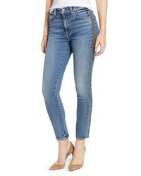 7 For All Mankind Blue 7 For All Mankind Luxe Vintage Side Stripe High Waist Ankle Skinny Jeans