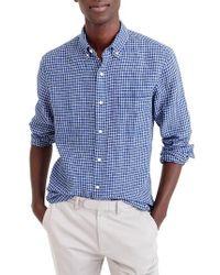 J.Crew - Blue J.crew Slim Fit Check Irish Linen Sport Shirt for Men - Lyst