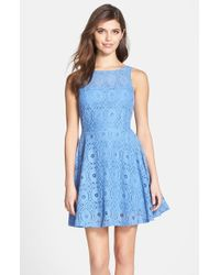 BB Dakota | Blue 'renley' Lace Fit & Flare Dress | Lyst