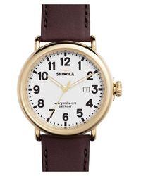 Shinola | Purple 'the Runwell' Leather Strap Watch | Lyst