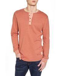 Scotch & Soda - Orange Granddad T-shirt for Men - Lyst