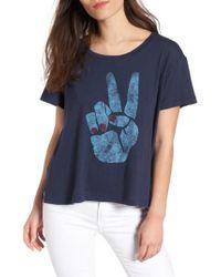 Sundry - Blue Peace Sign Tee - Lyst