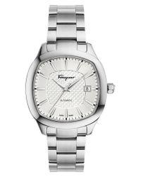 Ferragamo - Metallic Square Automatic Bracelet Watch for Men - Lyst
