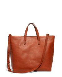 Madewell Brown Zip Top Leather Tote
