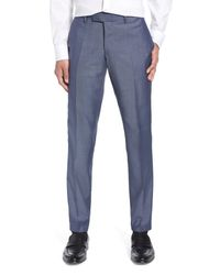 Tiger Of Sweden Blue Tordon Flat Front Solid Wool Trousers for men