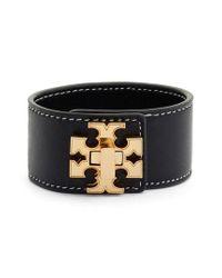 Tory Burch - Black Logo Single Wrap Leather Bracelet - Lyst