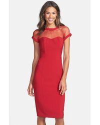 Maggy London | Red Illusion Yoke Crepe Sheath Dress | Lyst