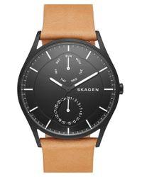 Skagen | Black 'holst' Multifunction Leather Strap Watch | Lyst