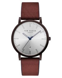 Ted Baker - Brown Dean Leather Strap Watch for Men - Lyst