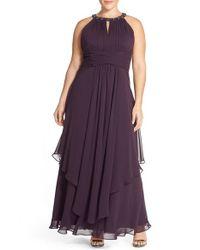 Eliza J | Purple Embellished Keyhole Neck Chiffon Gown | Lyst