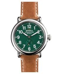 Shinola - Brown 'the Runwell' Leather Strap Watch for Men - Lyst