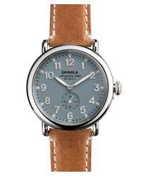 Shinola | Metallic 'the Runwell' Leather Strap Watch for Men | Lyst