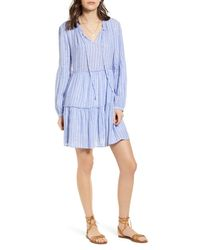 Rails Blue Everly Long Sleeve Minidress