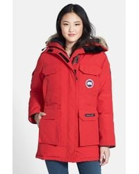 Canada Goose Red 'expedition' Relaxed Fit Down Parka With Genuine Coyote Fur