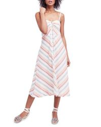 Free People White Striking Stripe Midi Dress