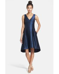 Alfred Sung | Blue Satin High/low Fit & Flare Dress | Lyst