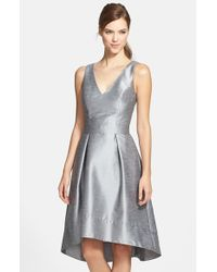 Alfred Sung   Metallic Satin High/low Fit & Flare Dress   Lyst