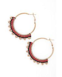 TOPSHOP - Red Hava Beaded Hoop Earrings - Lyst