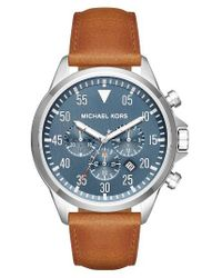 MICHAEL Michael Kors | Blue Michael Kors 'gage' Chronograph Leather Strap Watch for Men | Lyst