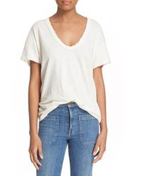The Great - White U-neck Cotton Tee - Lyst