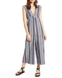 The Odells Multicolor Paloma Stripe Plunge Neck Jumpsuit