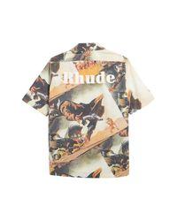Rhude Multicolor Gunslingers Print Short Sleeve Button-up Shirt for men