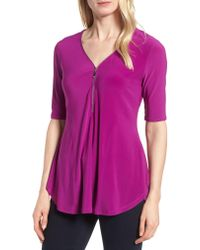Chaus - Purple Zip Front Stretch Jersey Top - Lyst