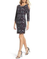 Pisarro Nights - Black Embellished Mesh Sheath Dress - Lyst