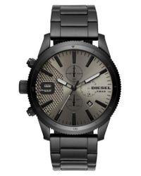 DIESEL | Black Diesel Rasp Chronograph Bracelet Watch for Men | Lyst
