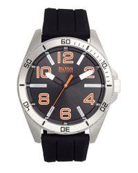 BOSS Orange | Black 'big Time' Silicone Strap Watch for Men | Lyst