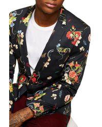 Topman - Multicolor Skinny Fit Floral Print Sport Coat for Men - Lyst