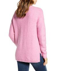 Caslon Pink Caslon Mock Neck High Low Sweater