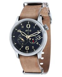 AVI-8 Black Flyboy Tuck Automatic Leather Strap Watch