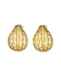 Oscar de la Renta - Metallic Scarab Button Clip Earrings - Lyst