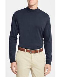 Cutter & Buck Blue 'belfair' Long Sleeve Mock Neck Pima Cotton T-shirt for men