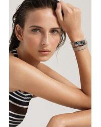 Tory Burch Metallic For Fitbit Leather Wrap Bracelet