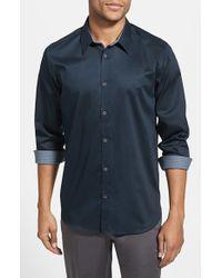 Ted Baker | Blue 'plancuf' Modern Slim Fit Stretch Sport Shirt for Men | Lyst