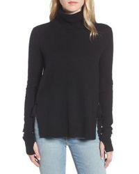 Pam & Gela - Black Distressed Turtleneck Sweater - Lyst